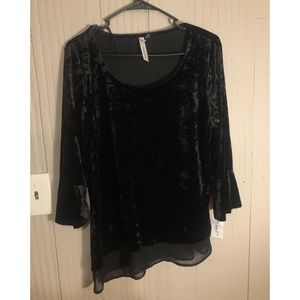 Velvet long sleeve black shirt NWT